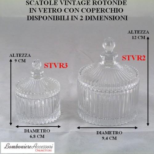 SCATOLA VINTAGE ROTONDA IN VETRO CON COPERCHIO