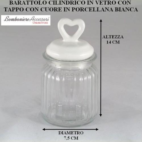 BARATTOLO CILINDRICO IN VETRO CON TAPPO CON CUORE