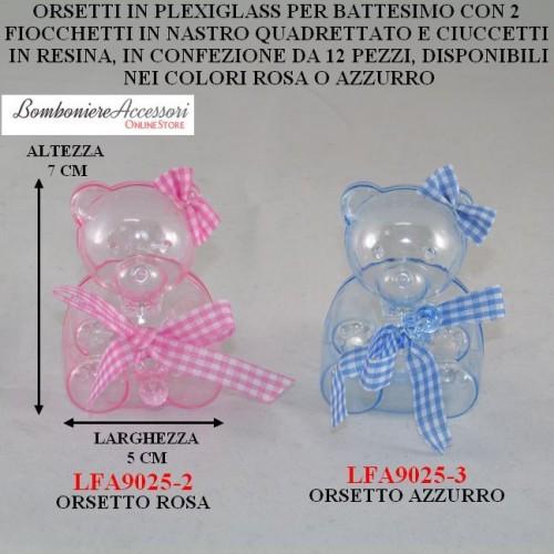 ORSETTI IN PLEXIGLASS PER BATTESIMO - PEZZI 12