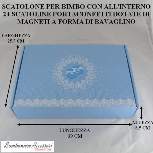 SCATOLONE BATTESIMO BIMBO CON 24 SCATOLINE PORTACONFETTI CON MAGNETE