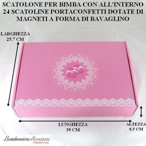 SCATOLONE BATTESIMO BIMBA CON 24 SCATOLINE PORTACONFETTI CON MAGNETE