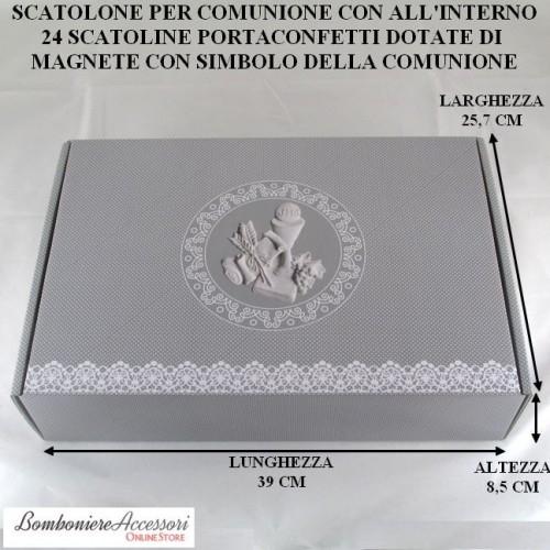 SCATOLONE PER COMUNIONE CON 24 SCATOLINE PORTACONFETTI CON MAGNETE