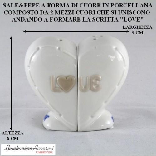 SET SALE&PEPE A FORMA DI CUORE IN PORCELLANA