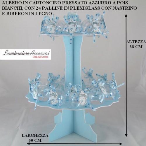 ALBERO AZZURRO CON 24 PALLINE IN PLEXIGLASS