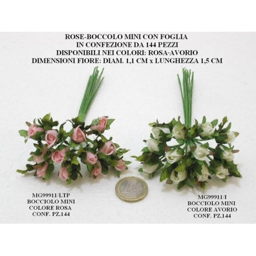 ROSE BOCCIOLO MINI CON FOGLIA, PEZZI 144