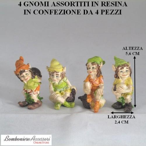 GNOMI ASSORTITI IN RESINA IN 4 MODELLI - PEZZI 4