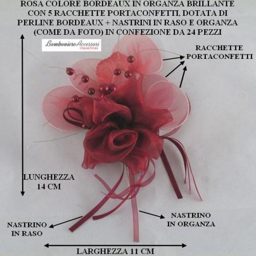 ROSA BORDEAUX IN ORGANZA BRILLANTE CON 5 RACCHETTE PORTACONFETTI - PEZZI 24