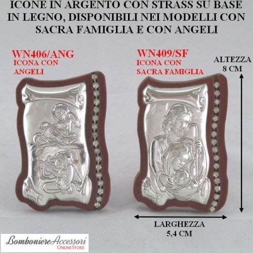 ICONE IN ARGENTO E LEGNO CON STRASS - MISURA MEDIA