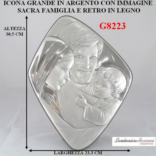 ICONA IN ARGENTO GRANDE CON SACRA FAMIGLIA