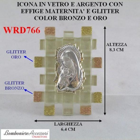 ICONA MATERNITA' IN ARGENTO SU VETRO