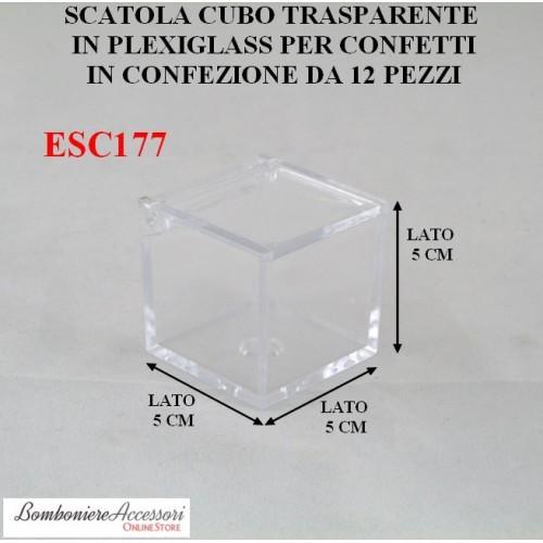 CUBO PORTACONFETTI TRASPARENTE IN PLEXIGLASS
