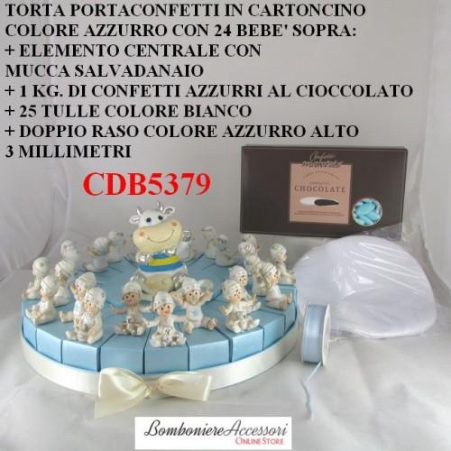 TORTA PORTACONFETTI AZZURRA CON 24 SCATOLE E BEBE'