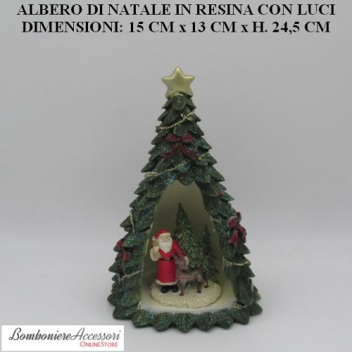 ALBERO NATALIZIO GRANDE IN RESINA CON BABBO NATALE, RENNA E LUCI INTERNE