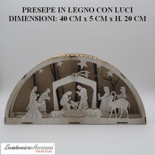 PRESEPE IN LEGNO COLORE NATURALE A FORMA DI SEMICERCHIO CON LUCI