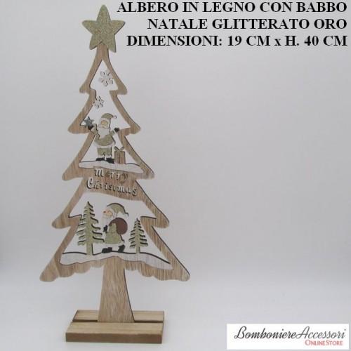 ALBERO GRANDE IN LEGNO CON BABBO NATALE GLITTERATO ORO