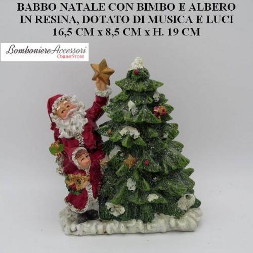 COMPOSIZIONE NATALIZIA CON ALBERO - MUSICA - LUCI