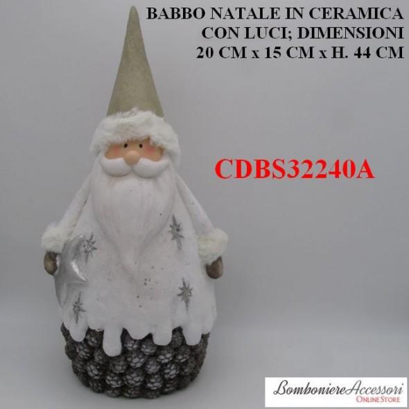 BABBO NATALE GIGANTE IN CERAMICA CON LUCI LED