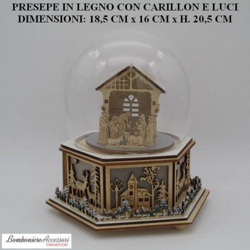 PRESEPE IN LEGNO CON CARILLON E LUCI
