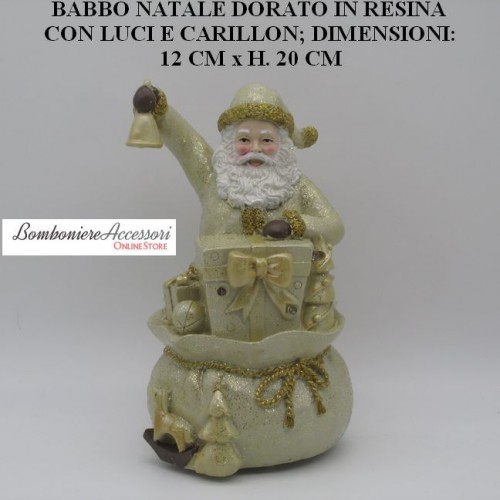 BABBO NATALE DORATO IN RESINA CON LUCI E CARILLON