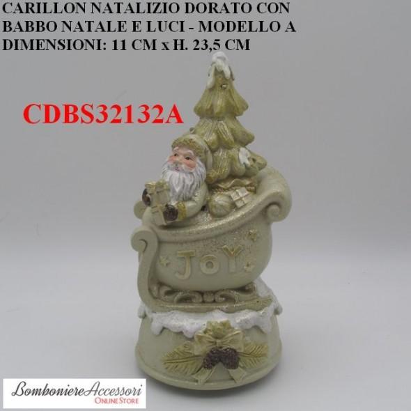 CARILLON NATALIZIO DORATO CON BABBO NATALE E LUCI