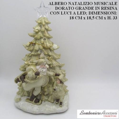 ALBERO NATALIZIO MUSICALE DORATO GRANDE CON LUCI