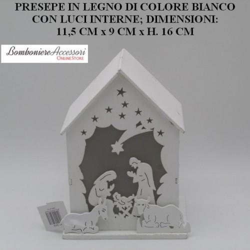 PRESEPE IN LEGNO DI COLORE BIANCO CON LUCI INTERNE