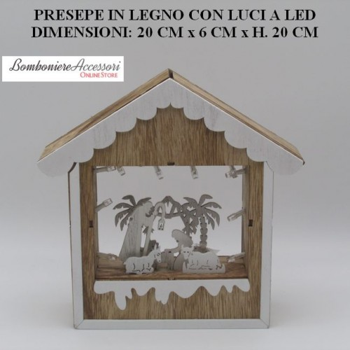 PRESEPE IN LEGNO BICOLORE CON LUCI A LED