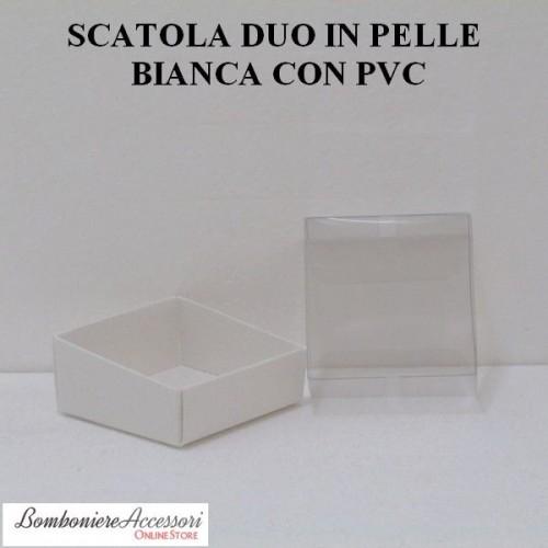SCATOLA PER CONFETTI BIANCA CON COPERCHIO IN PVC - PEZZI 20