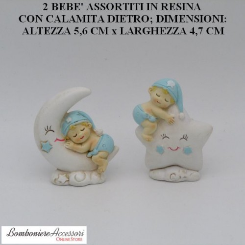 2 BEBE' ASSORTITI IN RESINA PER NASCITA O BATTESIMO MASCHIO, CON CALAMITA DIETRO
