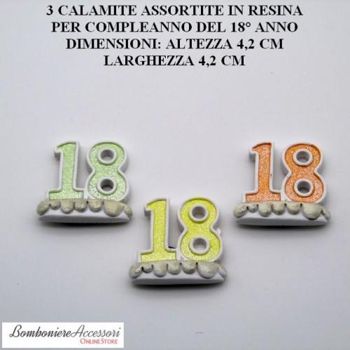 3 CALAMITE ASSORTITE IN RESINA PER COMPLEANNO 18° ANNO