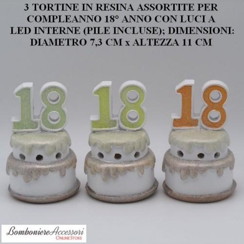 TORTINE IN RESINA PER COMPLEANNO 18° ANNO CON LUCI A LED INTERNE, ASSORTITE IN 3 MODELLI