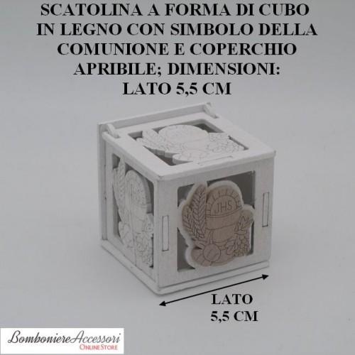 SCATOLINA IN LEGNO CON SIMBOLO DELLA COMUNIONE E COPERCHIO APRIBILE