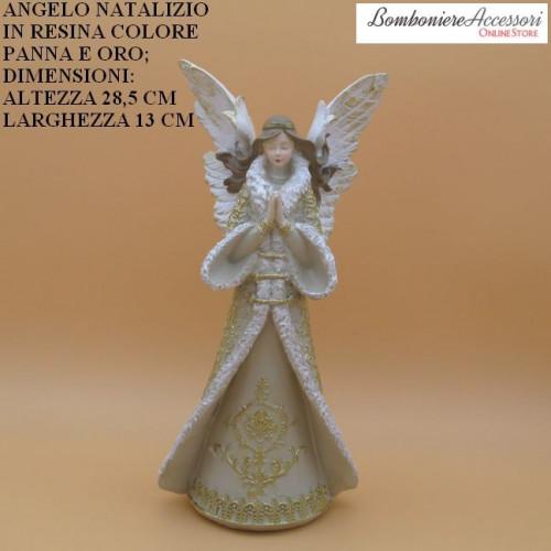 ANGELO NATALIZIO IN RESINA COLORE PANNA E ORO