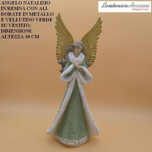 ANGELO NATALIZIO IN RESINA CON ALI DORATE IN METALLO