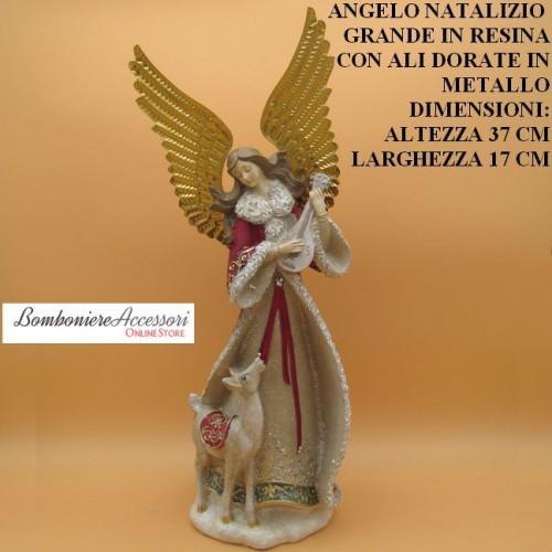ANGELO NATALIZIO ROSSO GRANDE IN RESINA CON ALI DORATE