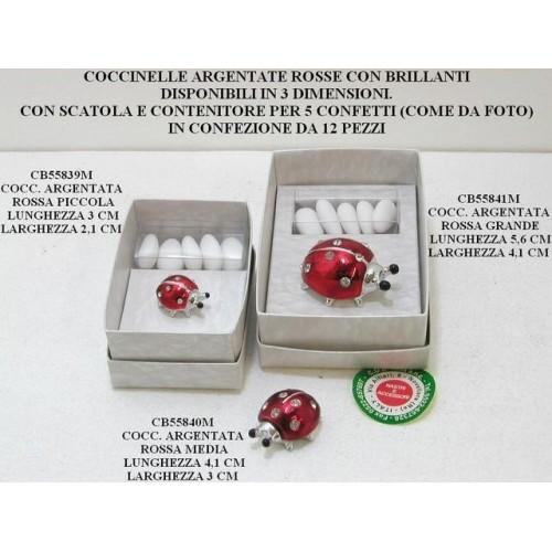 COCCINELLE ARGENTATE ROSSE CON BRILLANTI - PEZZI 12