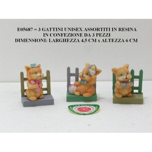 3 GATTINI UNISEX ASSORTITI IN RESINA