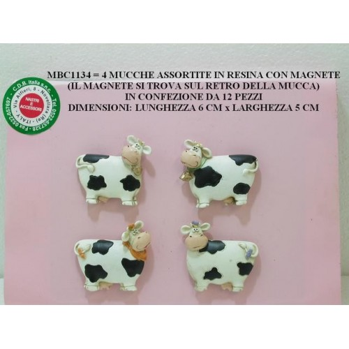 4 MUCCHE ASSORTITE IN RESINA CON MAGNETE