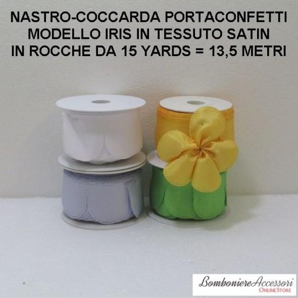 COCCARDA PORTACONFETTI MODELLO IRIS IN SATIN - METRI 13,5