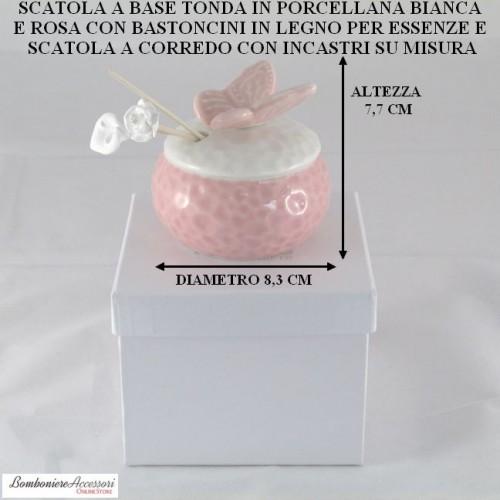 SCATOLA TONDA IN PORCELLANA BIANCA E ROSA CON BASTONCINI IN LEGNO PER ESSENZE