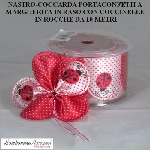 COCCARDA PORTACONFETTI IN RASO CON COCCINELLE - METRI 10