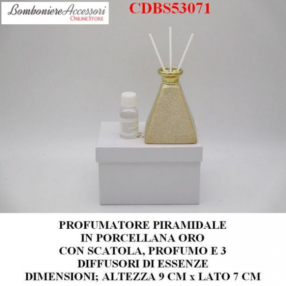 PROFUMATORE PIRAMIDALE DORATO IN PORCELLANA CON PROFUMO E SCATOLA