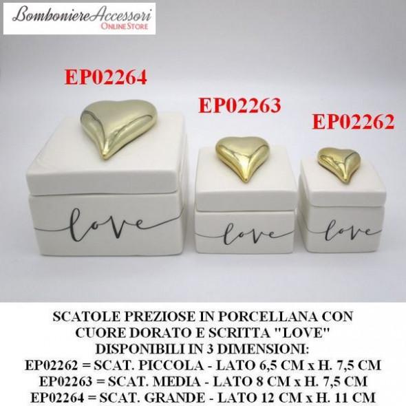 SCATOLE PREZIOSE IN PORCELLANA CON SCRITTA LOVE E CUORE DORATO