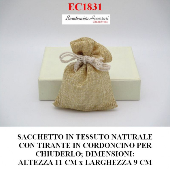 SACCHETTO CON CORDONCINO PER CHIUDERLO, IN TESSUTO COLORE NATURALE